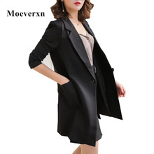 Women's Blazers New 2017 Casual Blazer Women Mid-length Single Button Plus Size XXXL Suit Jacket Blazer Feminino OL Style