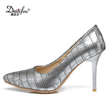 Daitifen 2018 Sex Women 9 cm Super High Heel Shoes Fashion Pencil Heel Ladies Pumps Trendy Stone Women Stilettos Size 30 – 48