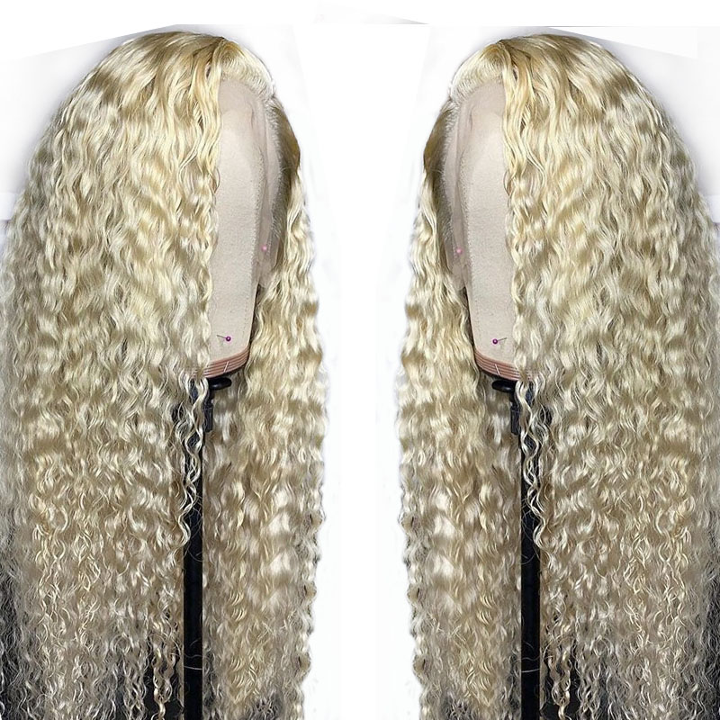 13x4 Curly 613 Blonde Lace Front Wig Black Women Preplucked Brazilian Transparent Water Wave Remy Lace Front Human Hair Wigs-in Human Hair Lace Wigs from Hair Extensions & Wigs    1