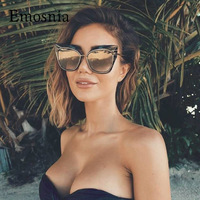 Oversized Cat Eye Brand Designer Cateye Stylish Women Sunglasses Cool Female Lady UV400 Mirror Sun Glasses