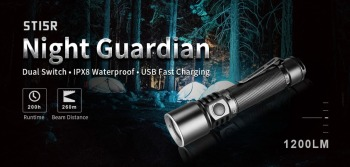 Klarus ST15R USB Charging Flashlight CREE XP-L HD V6 max 1200 lumen beam throw 260 meter + 2600mAh battery bike mount Diffuser