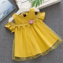 Korean style Toddler Solid Dresses Baby Girls Off Shoulder Tulle Floral Party Princess Dresses Clothes vestiti neonata estivi