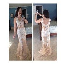 2016 Vintage Meerjungfrau V-ausschnitt Ärmellose Sweep Zug Prom Kleid Mit Weiße Applikationen Champagne Abendkleid Vestido De Noche