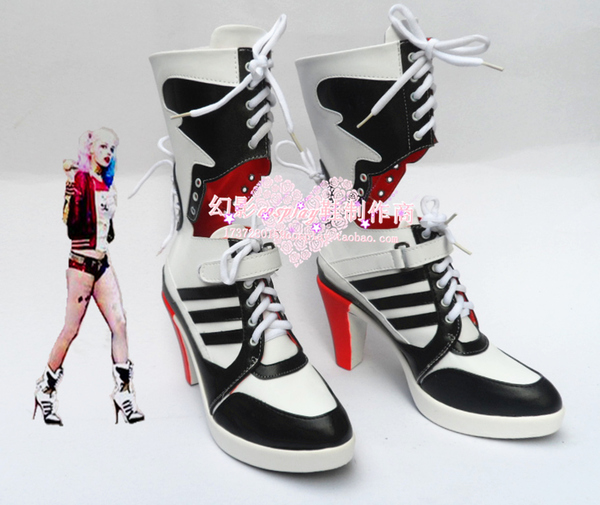 d374ddeb46e Batman Harley Quinn Movie Suicide Squad Arkham Asylum Halloween High Heels  Cosplay Shoes Boots H016