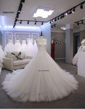 מקסים אונליין מתוקה שנהב שרוולים שמלות כלה Vestidos דה Novia תפור לפי מידה הכלה שמלה עם תחרת אפליקציות