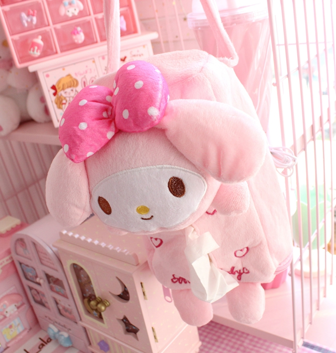 Candice Guo! New Arrival Super Cute Plush Toy Pink Heart Melody Tissue Box Cover Hanging Paper Towel Case Girls Birthday Gift 1p