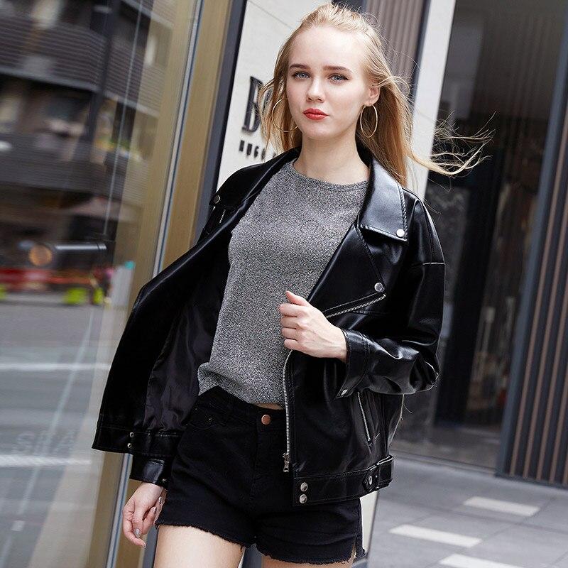 Femmes Mince Nouvelle Hiver Mode Autunm Cuir 2018 Vente Veste Noir Manteau Chaude Moto Lâche En Casual rCqwaxrn0S