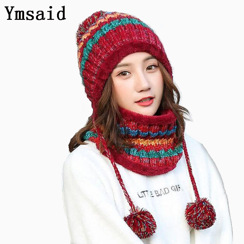 Ymsaid Winter Women Knitted Hat Scarf Two Pieces Set Fashion Wool Thickening Hat Collars Female Warm Hat Scarf Set Snow Caps