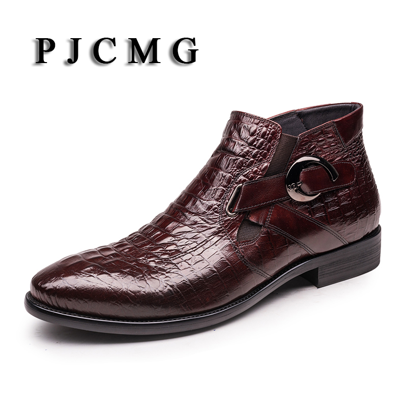 PJCMG New Pointed Toe Slip-On Ankle Boots Men Hombre Genuine Leather Men Motorcycle Boots For Men High Top Men Shoes red men wedding dress shoes pointed toe ankle boots genuine leather botas hombre cowboy military boots metal decor men flats