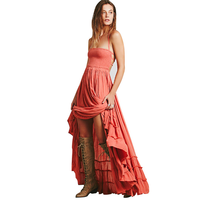 2017 womens ladies summer dress boho casual long maxi strappy sleeveless dress beach evening party sundress plus size may 26 - Size 26 Halloween Costumes