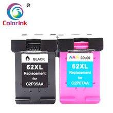 Coloink 2 шт 62XL заполняемый картридж для чернил Замена для hp 62XL картридж Envy 5640 OfficeJet 200 5540 5740 5542 7640 принтер