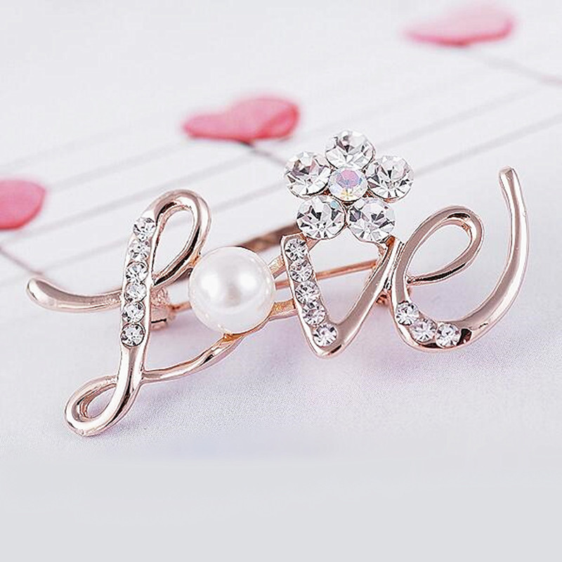 New LOVE English Letters Design Brooches Pins Elegant Crystal Flower Brooch Clothes Accessories For Wedding Jewelry Gifts