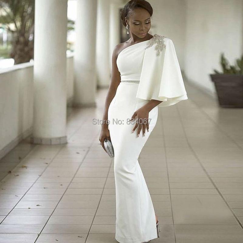White Long Evening Dress 2017 Beads One Shoulder Mermaids African ...