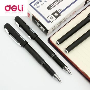 Deli gel pen 1pcs sign Plastic pen 0.5mm office black ink refills wholesale gel pen roller ball pen rubber S114 Stationery