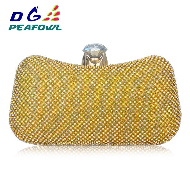 f5eb74b64 Cristais de luxo Diamante Sacos de Noite de Ouro Pavão de Ouro ...
