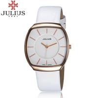 2016 Julius Brand Popular Men Women Quartz Business Wristwatches Leather Simple Lovers Couple Watch Clock Relogio