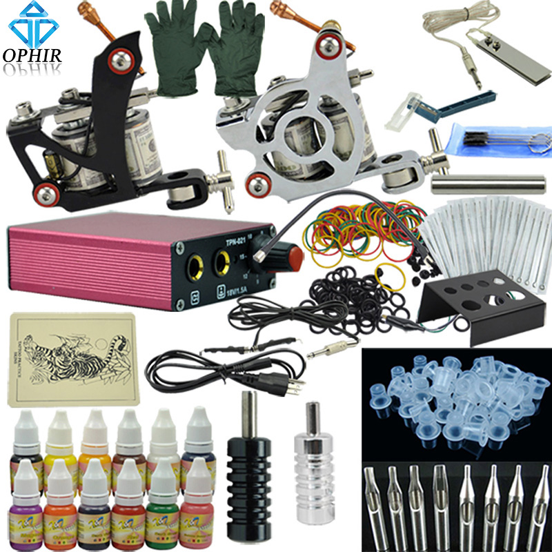 OPHIR Complete Tattoo Kit 1x Liner Tattoo Machine 1x Liner Shader Tattoo Gun 12 Color Inks