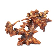 Wood Carving Effect Abstract Zeus Family Sculpture Handmade Resin Greek Myth God Figurine Novelty Decor Art and Craft Ornament