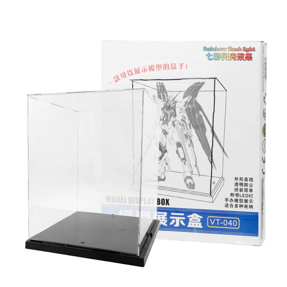Clear Acrylic Display Box With Colorful Light Dustproof Action Figure Showcase цены
