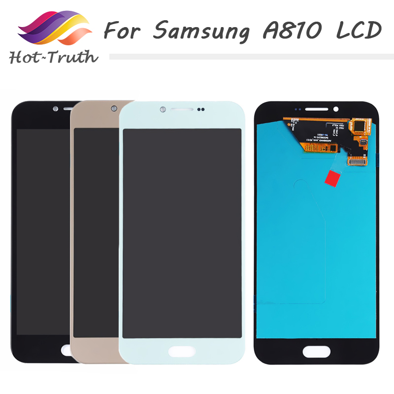 Original Super AMOLED A810 LCD Display Touch Screen Digitizer For SAMSUNG Galaxy A8 2016 A810 A810F A810Y LCD Screen Replacement image