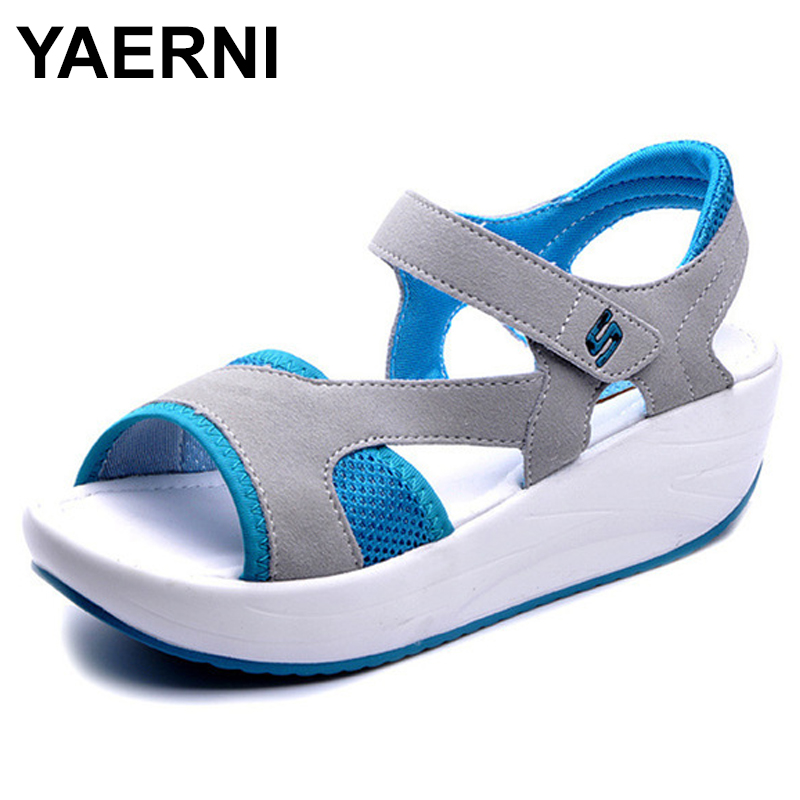 YAERNI Women's Sandals Summer Platform Ladies Wedges Casual Fashion Mesh 40 Breathable