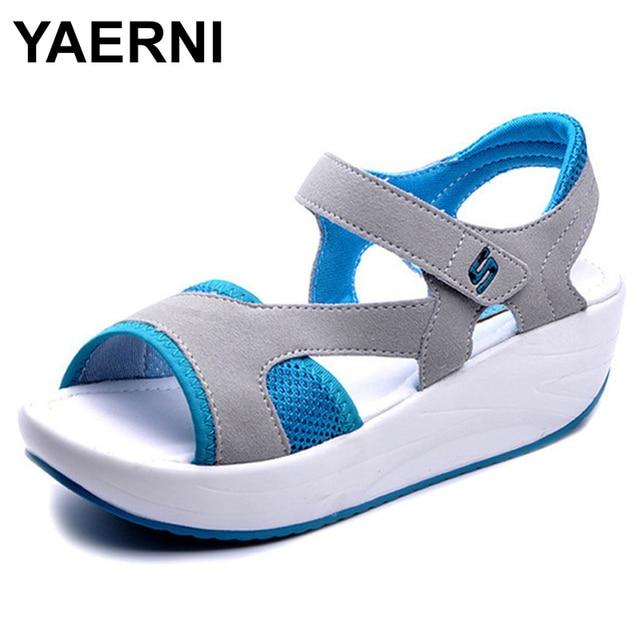 YAERNI Sandálias Malha Respirável Sapatos Casuais das Mulheres Das Senhoras Das Mulheres Sandálias Cunhas Plataforma 2018 Moda Verão Sandálias Tamanho 40