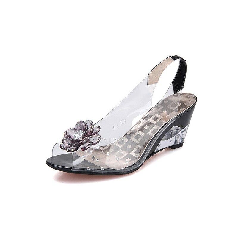 ФОТО Women shoes sandals big flower gentle Women Sandals open toe female sandals cutout wedges women shoes sandals plus size