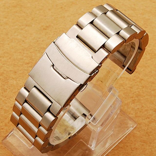 Popular Hombres Womn Reloj Banda 22/24/26mm Correa de Acero Inoxidable Plateado durante Horas con Plegable Aplausos con Safty Reemplazo GD0135