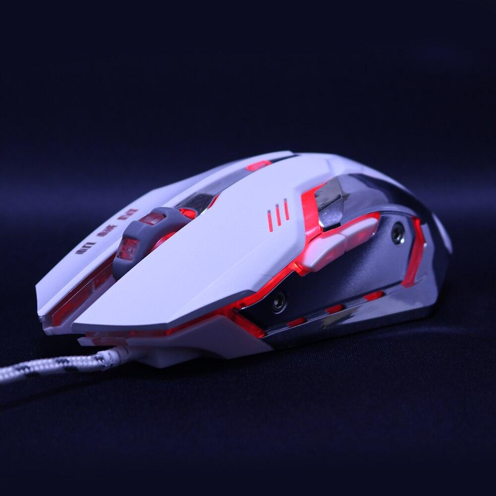 Mudo silencioso 3200 dpi ajuste USB 6D óptico con cable ratón de juego de ordenador LED ratones para PC ordenador portátil dota 2