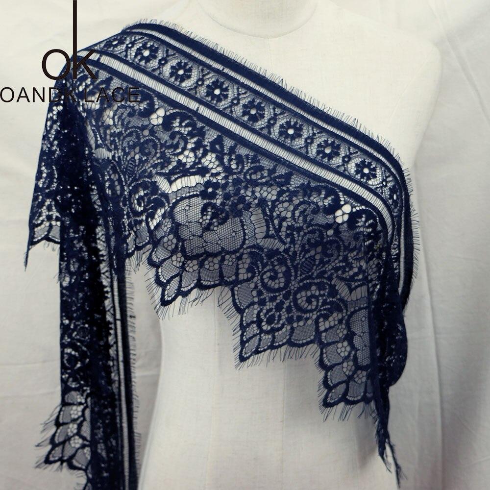 3 mètre/lot cils dentelle tissu 21-26 cm bricolage décoratif de haute qualité doux hors Nylon cils dentelle garniture robe de mariée tissu