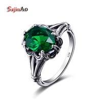 Szjinao Nieuwe Aankomst Vrouwen Retro Zilveren Ring Handgemaakte Streep Groen Oostenrijkse Crystal Ring 925 Sterling Zilveren Sieraden Groothandel