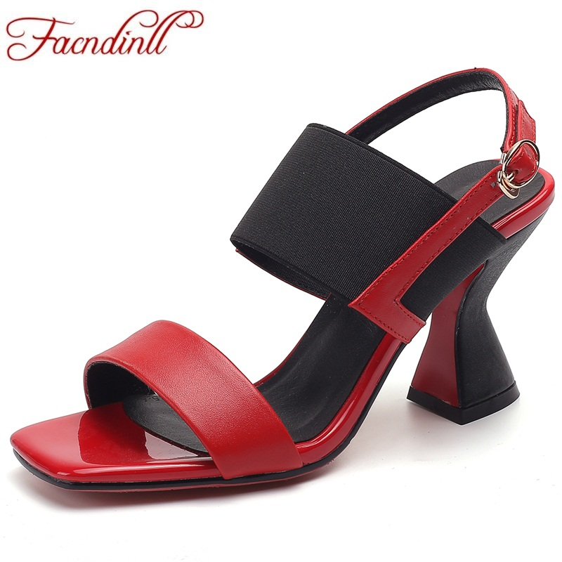 FACNDINLL genuine leather summer shoes woman gladiator sandals 2018 fashion high heels open toe women ladies party dress shoes facndinll shoes summer gladiator sandals for women new fashion genuine leather high heels peep toe shoes woman dress party shoes