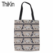 THIKIN Large Capacity Shopping Bags Women Cute Border Collie Print Tote Bag Shoulder Bags for Females Fashion Grocery Package