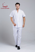 Korean version of male doctors partial front gown split suit cosseting student dentists uniform for medical staff
