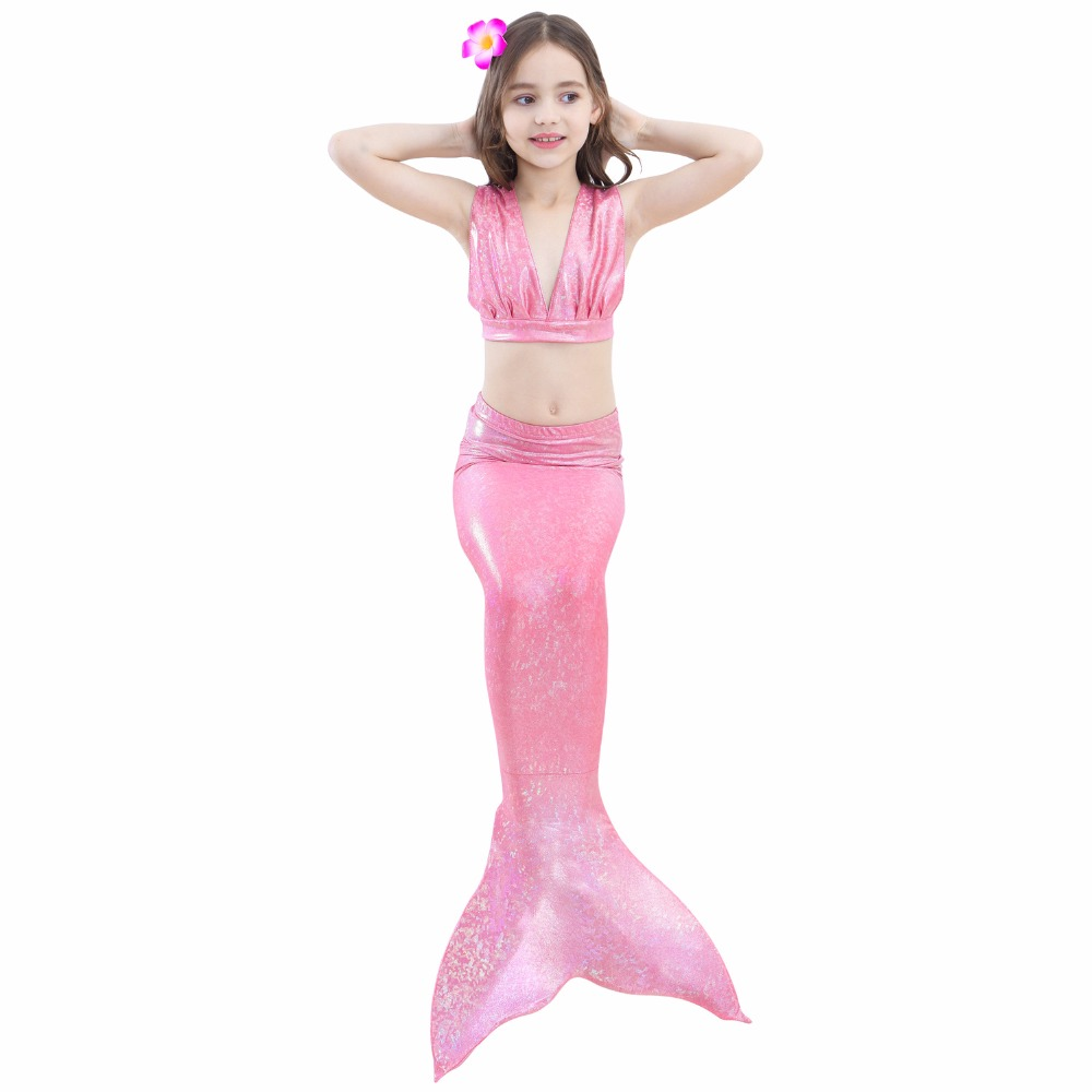 2018 New 3 Pcs/Set Girls Colorful Mermaid Tail Swimwear Bathing Suit Cosplay Costume Bikini Swimsuit Swimming Suits