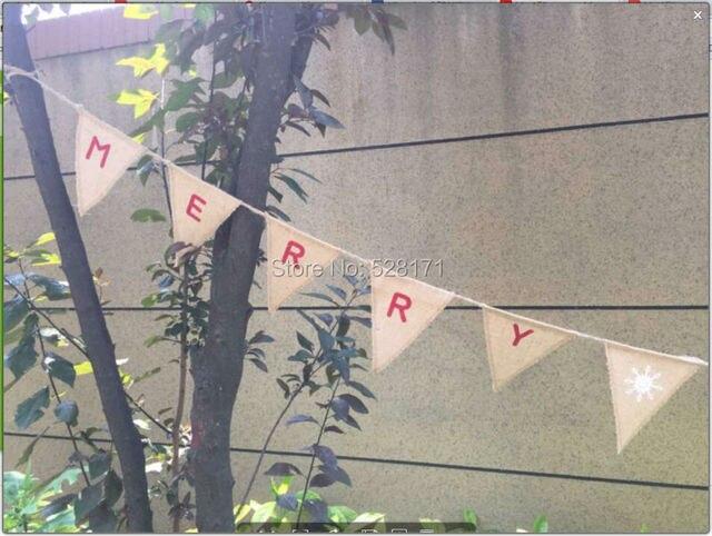 free shipping 5packslot 3m eco friendly hessian merry christmas flag bunting christams burlap - Burlap Christmas Banner