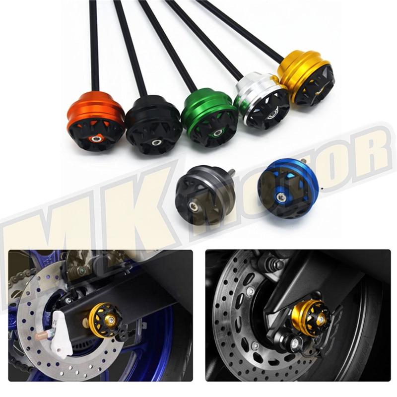 Blue Motorcycle CNC Aluminum Front & Rear Axle Fork Crash Sliders Wheel For KTM 690 Duke/SMC/SMCR KTM390 KTM690