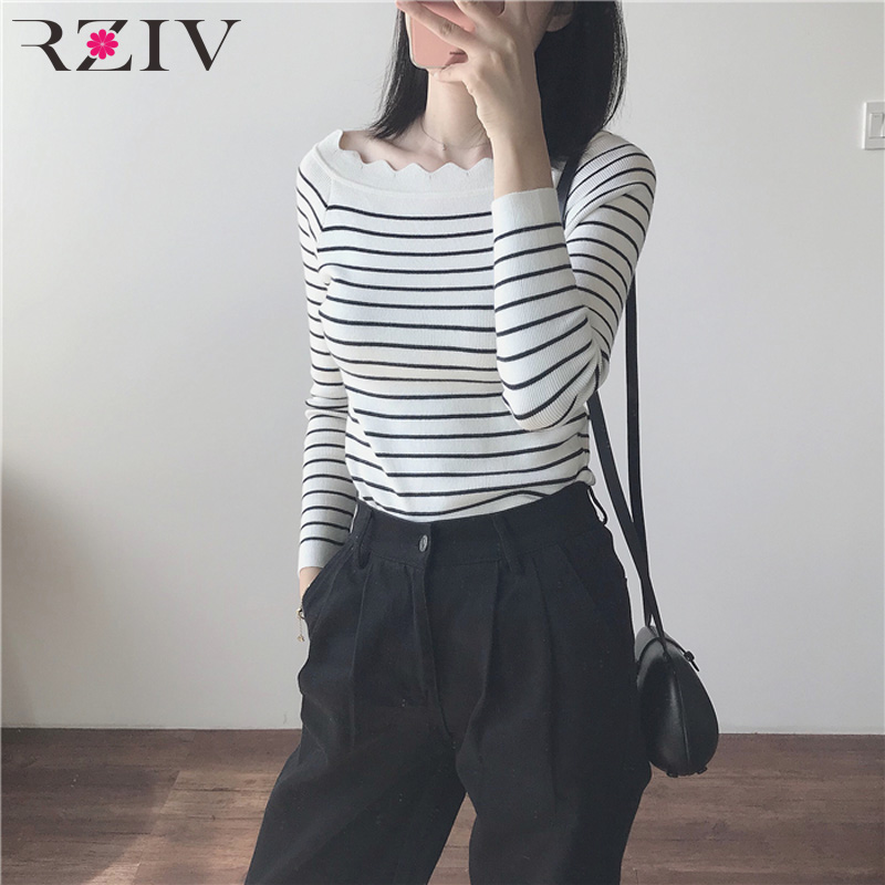 RZIV autumn female casual striped sweater Slim thin sweater
