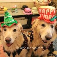 큰 개 코스프레 캡 개 생일 파티 모자 애완 동물 크리스마스 모자 큰 작은 중간 크기의 개 크리스마스 의상 인쇄 양털 모자