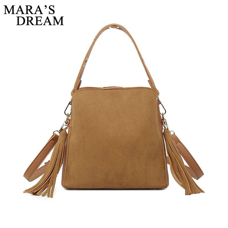 Mara's Dream 2018 Fashion Handbags Scrub PU Leather Casual Women Luxury Brand Tassel Shoulder Bag Designers for Women Hand Bags