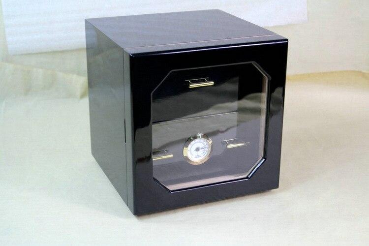 Mini Trois-couches Cigare Armoire Vitrine Pin Cave À Cigares Piano Peinture Cigare Hydratant Boîte En Laiton Anneau En Verre Hygromètre