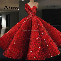 Turkish Red Evening Dresses Dubai Arabic Aibye Prom Gowns 2018 Galajurk Kaftans Bling Sequins Formal Party Abendkleider Dress