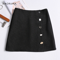 842bc65a57 BIAORUINA Women High Waist Fashion Black A Line Mini Skirt Female Solid  Fashion Classic Skirt Ladies