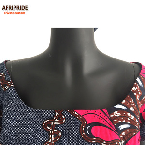 Image 5 - African Ankara Church Bandana Dresses for Women Tailor Made Short Sleeves Ankle Length Women Cotton Dress with Head wrap A722552