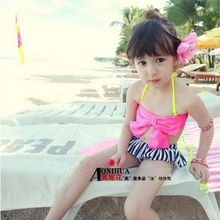 Children Swimwear 2016 New Baby Girls Kids Cute Bikini Set Girls Two Pieces Striped Bow Tutu Swimsuit Bathing Suit Beachwear