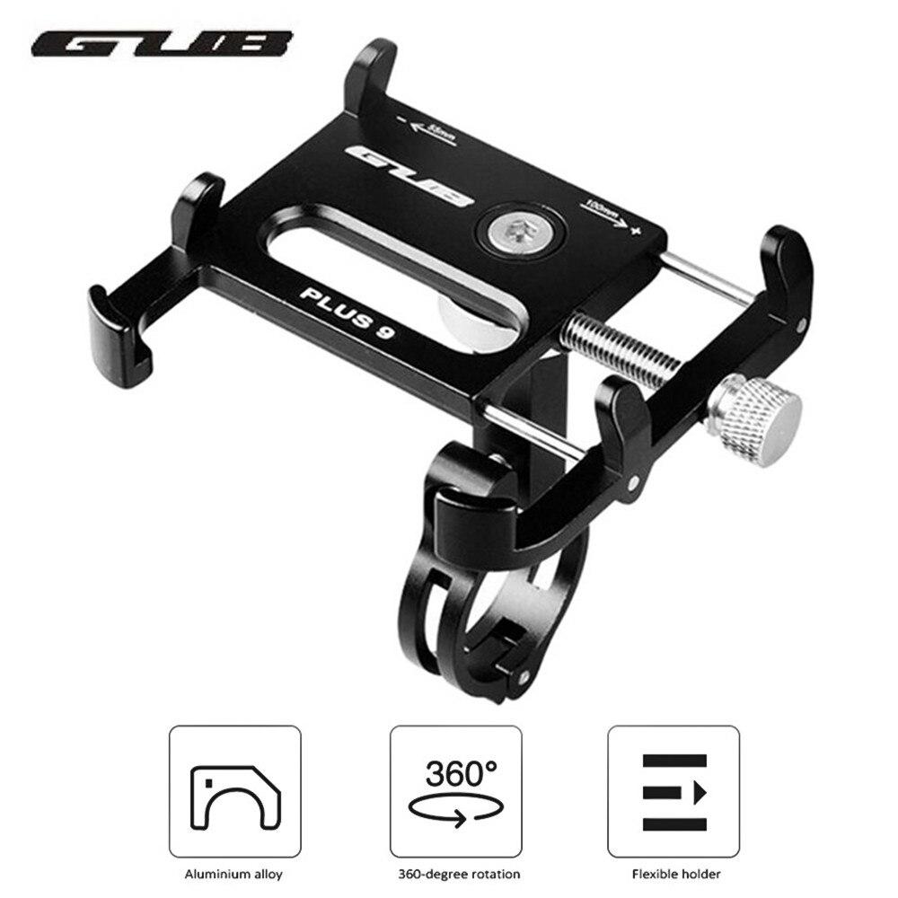 GUB PLUS 9 tout en alliage d'aluminium universel 360 degrés rotatif support pour téléphone portable guidon de montage de vélo pour pour téléphones 3.5-6.2in