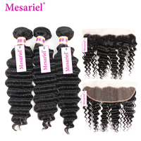 Mesariel Brazilian Hair Weave Bundles Deep Wave Bundles With Closure Frontal 13*4 Free Part Remy Hair Frontal With Bundles