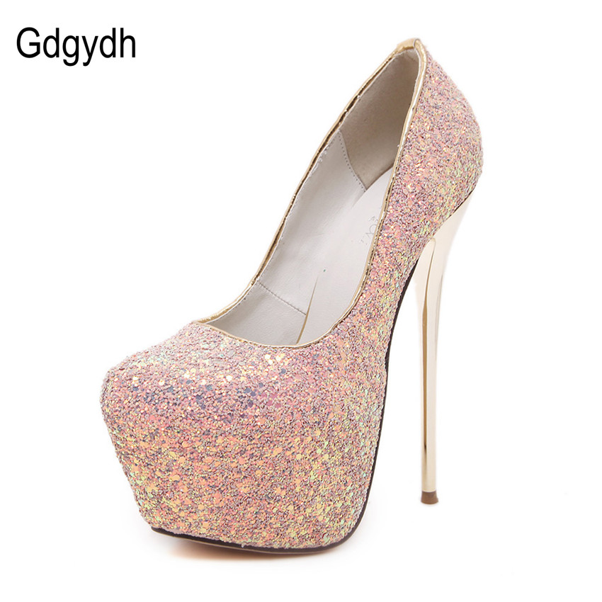 ФОТО Gdgydh Fashion Women Platform Shoes 2017 New Spring Autumn Sequined Cloth Women Pumps Thin Heels Sexy Slim Office Shoes Size 40