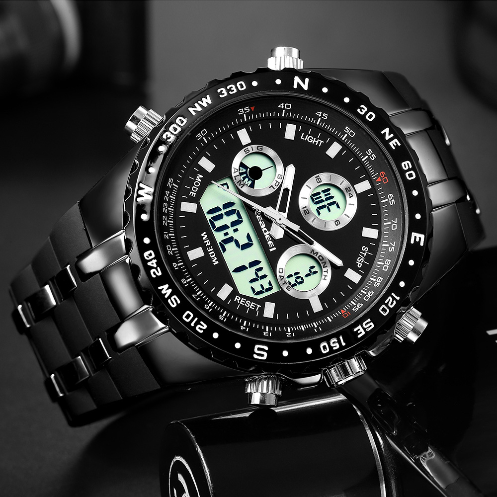 Readeel haut Sport Quartz montre bracelet hommes militaires montres imperméables Led montres numériques hommes Quartz montre bracelet mâle - 3