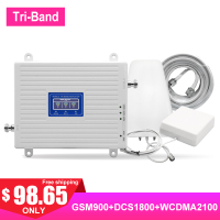 GSM LTE 2G 3G 4G Amplifier kit TriBand Cellular Signal Booster Cell Phones AGC 900 2100 1800MHZ UTMS Internet Network Antenna >